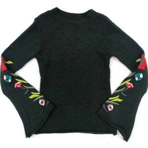 Romeo + Juliet Embroidered Bell Sleeve Sweater